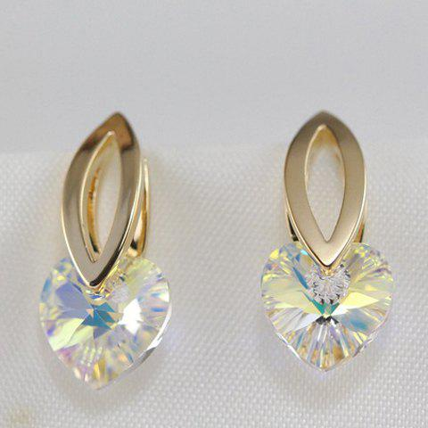 Pair of Charming Faux Crystal Heart Hollow Out Earrings For Women - GOLDEN