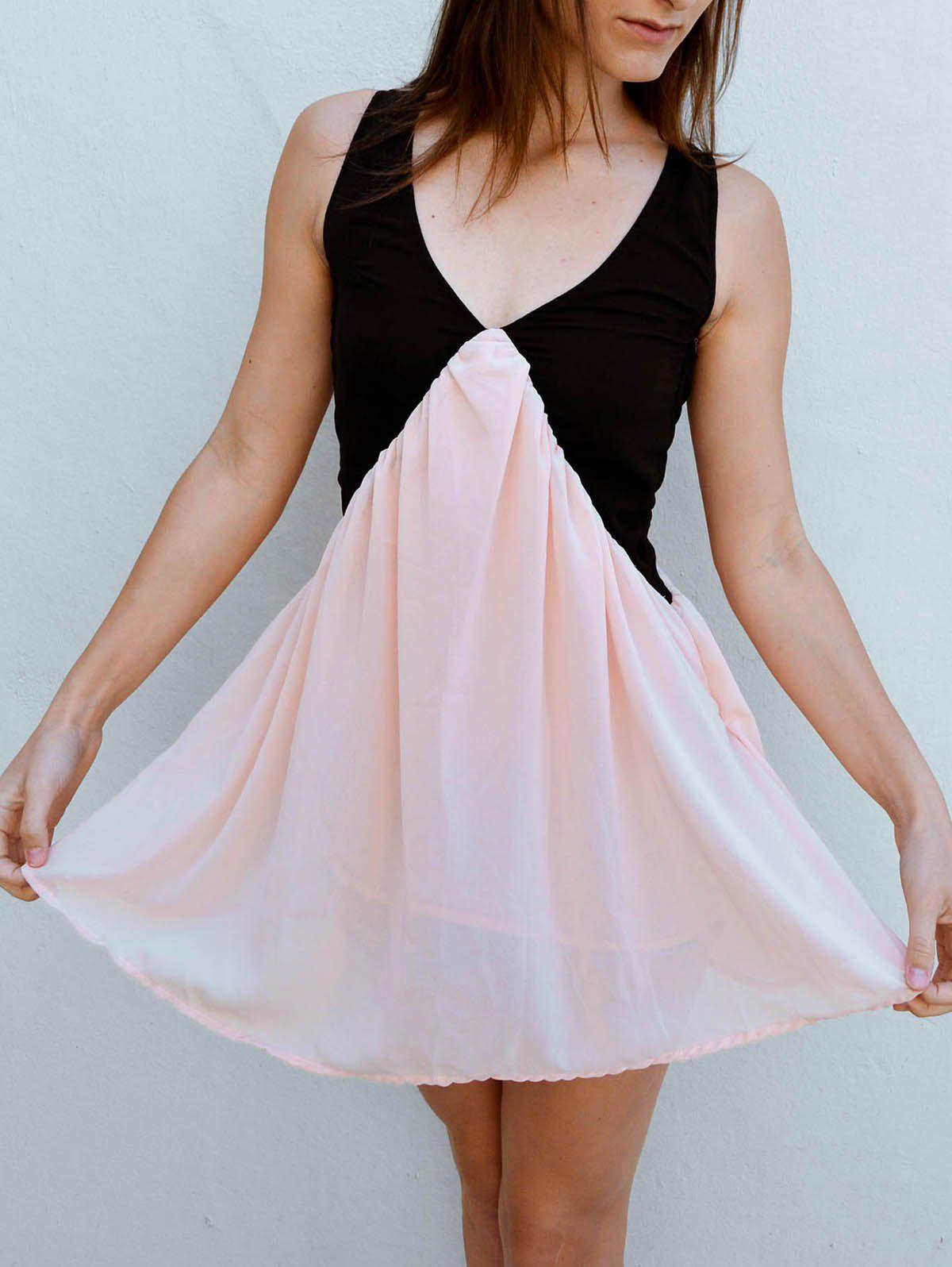 Vintage V-Neck Color Block Sleeveless Dress For Women - LIGHT PINK XL