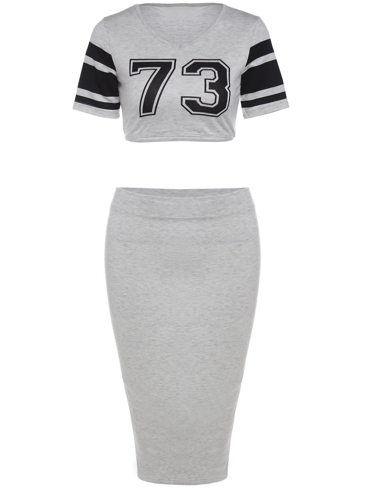 Stylish Round Neck Short Sleeve Crop Top + Bodycon Skirt Women's Twinset