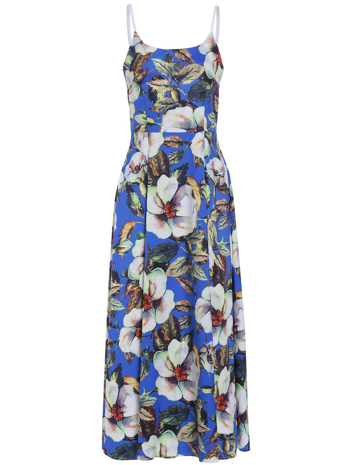 Sweet Spaghetti Strap Floral Print Maxi Dress For Women - COLORMIX M