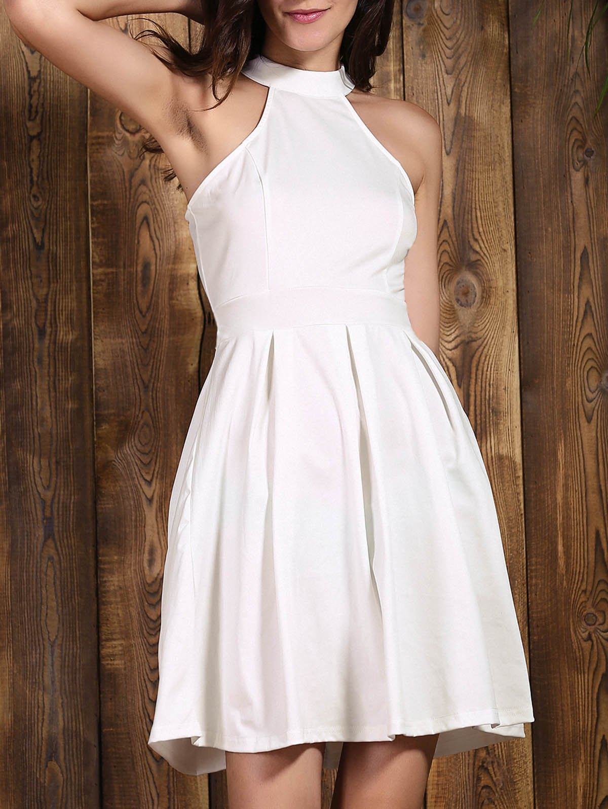 Chic Sleeveless Jewel Neck Cut Out Solid Color Women's Dress - WHITE XL