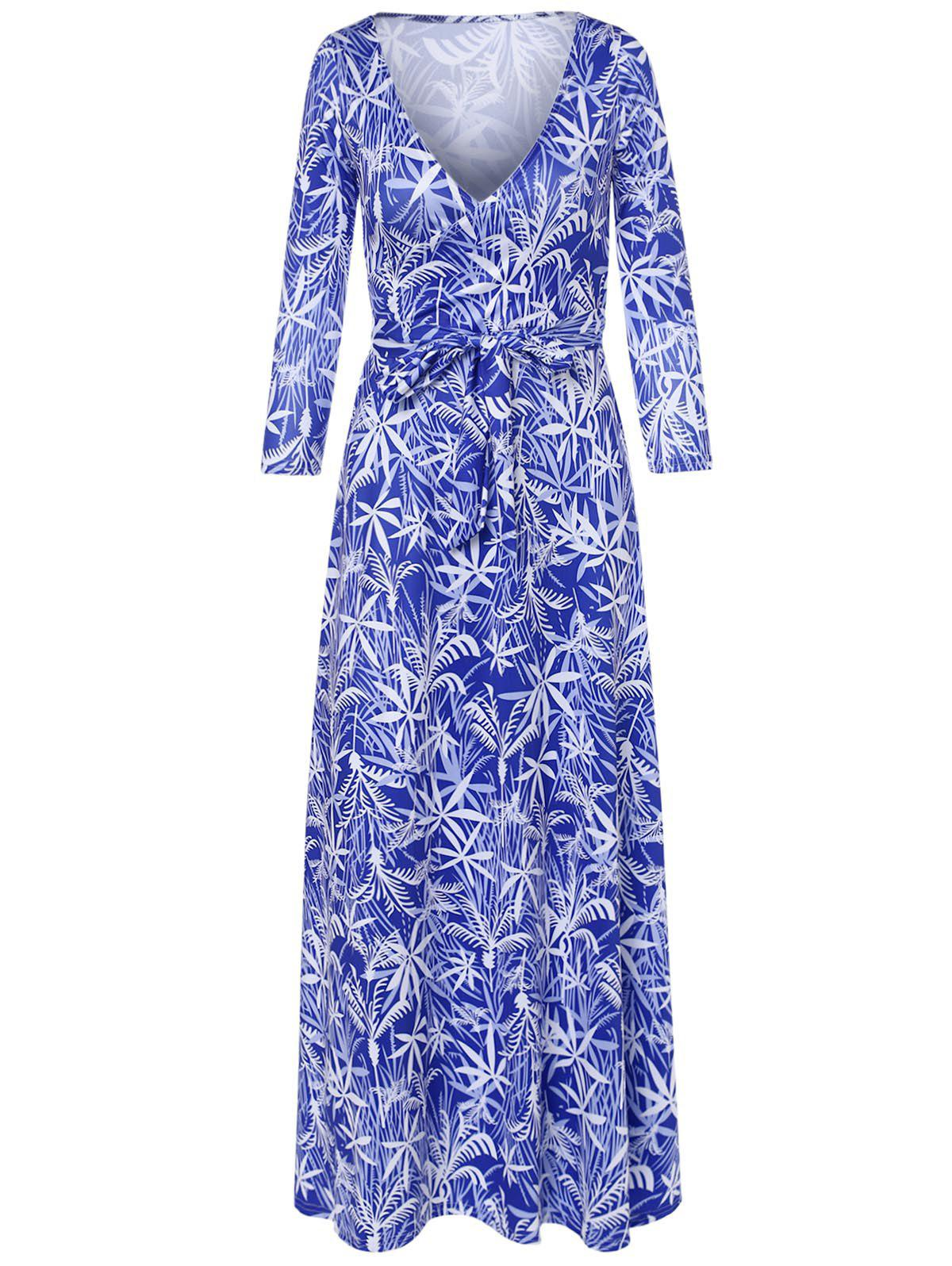 Leaf Print Plunging Neck Dress - SAPPHIRE BLUE S