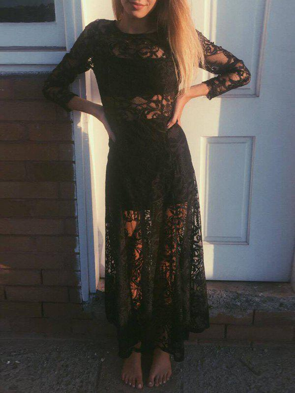 Chic Lace Cut Out See-Through Long Sleeve Maxi Dress For Women long sleeve plunge see through lace tight pencil dress