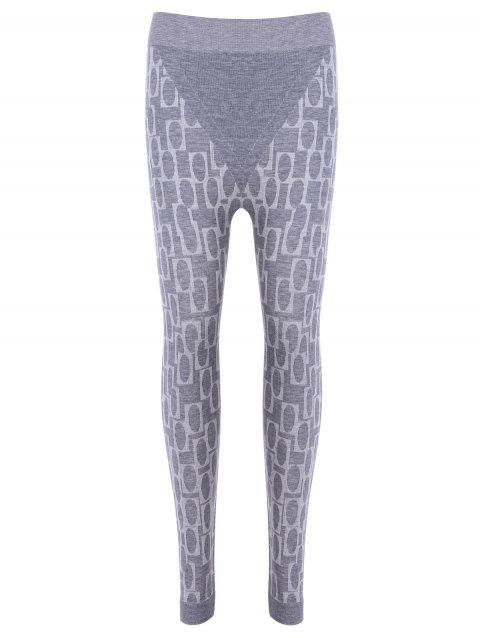 Stylish Women's High Waisted Printed Stretchy Slimming Gym Leggings - LIGHT GRAY ONE SIZE(FIT SIZE XS TO M)