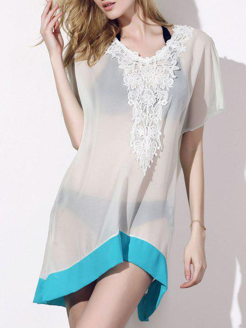Sexy Scoop Neck Half Sleeve Laciness See-Through Women's Cover-Up - BLUE ONE SIZE(FIT SIZE XS TO M)