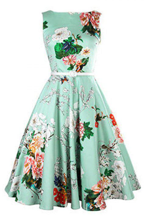 Vintage Women's Jewel Neck Sleeveless Floral Print Belted A-Line Dress - LAKE GREEN L