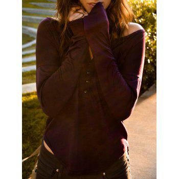 Stylish Plunging Neck Solid Color Long Sleeve Women's T-Shirt