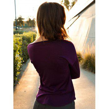 Stylish Plunging Neck Solid Color Long Sleeve Women's T-Shirt - PURPLE L