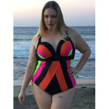 Sexy Spaghetti Strap Color Block Plus Size Women's Swimwear - COLORMIX 5XL