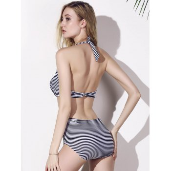 Alluring Women'S Halter Neck Striped High Waist Bikini Set - L L
