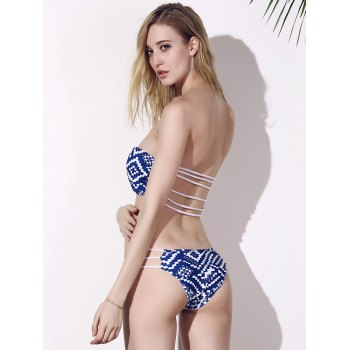 Sexy Women's Strapless Stretchy Print Bikini Set - BLUE XL