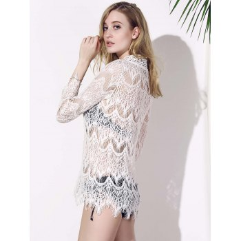 Fashionable V-Neck Crochet Flower Hollow Out Long Sleeve Women's Cover-Up - WHITE M