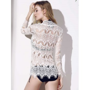Fashionable V-Neck Crochet Flower Hollow Out Long Sleeve Women's Cover-Up - WHITE L