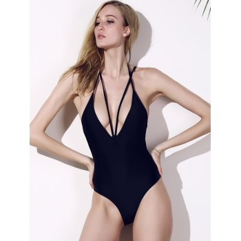 Plunge High Cut One Piece Swimwear - BLACK M
