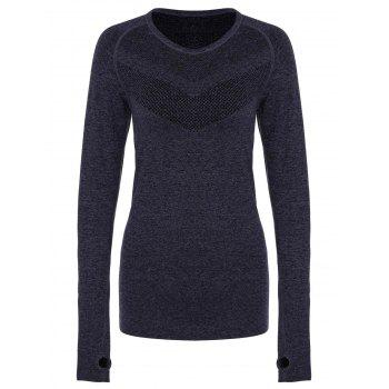 Stylish Women's Round Collar Slimming Long Sleeve Gym Top