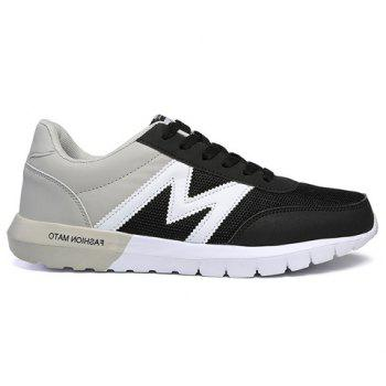 Trendy Splicing and Colour Matching Design Men's Athletic Shoes - BLACK/GREY 41