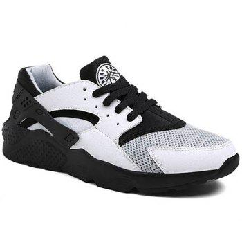 Leisure Mesh and Color Matching Design Men's Athletic Shoes - WHITE AND BLACK WHITE/BLACK