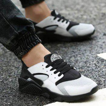 Leisure Mesh and Color Matching Design Men's Athletic Shoes - WHITE/BLACK WHITE/BLACK