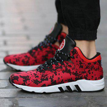 Casual Color Lace-Up and Color Matching Design Men's Athletic Shoes - RED RED