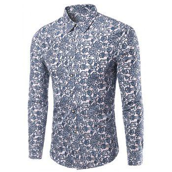 Casual Plus Size Flowers Printing Men's Turn Down Collar Shirt