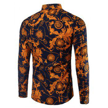 Casual Plant Printing Turn Down Collar Men's Shirt - COPPER COLOR 3XL
