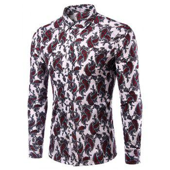 Casual Plus Size Printing Turn Down Collar Men's Shirt - COLORMIX 2XL