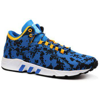 Casual Color Lace-Up and Color Matching Design Men's Athletic Shoes - BLUE 42