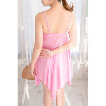 Alluring Women's Spaghetti Strap Lace Spliced Pure Color High Low Babydoll - LIGHT PINK LIGHT PINK