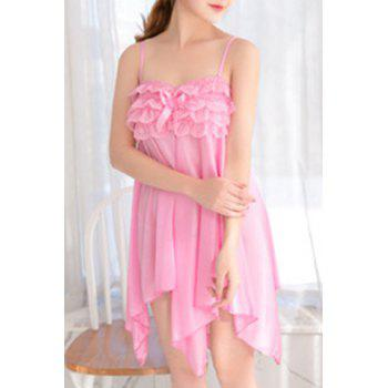 Alluring Women's Spaghetti Strap Lace Spliced Pure Color High Low Babydoll
