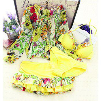 Sweet Women's Floral Print Halter Neck Four Piece Bikini Set