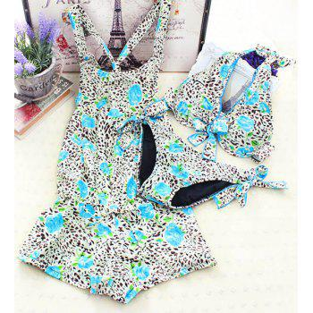 Stylish Leopard Rose Print Halter Women's Bikini Set