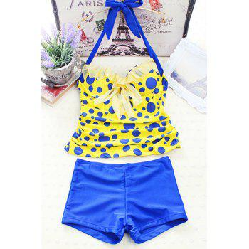 Stylish Underwire Halter Polka Dot Women's Tankini Set