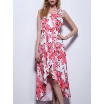 Ladylike Sleeveless Floral Print Asymmetric Dress For Women
