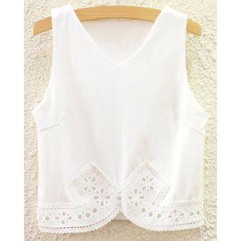 Chic Sleeveless Solid Color Lace Spliced Crop Top For Women
