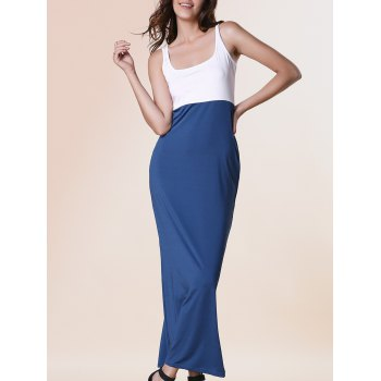 Trendy Sleeveless U-Neck Spliced Color Block Women's Dress