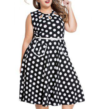 Sweet Sleeveless Round Neck Polka Dot Print Women's Plus Size Dress