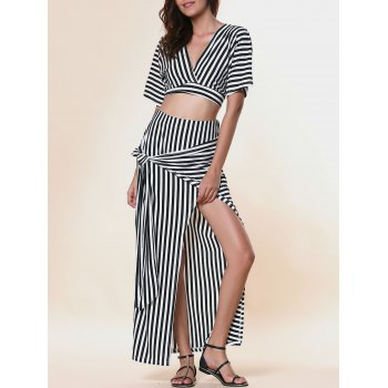 Buy Chic Plunging Neck Striped Cut Crop Top + Furcal High-Waisted Skirt Women's Twinset STRIPE
