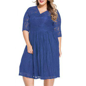 Sweet 3/4 Sleeves V-Neck Lace Flared Women's Dress