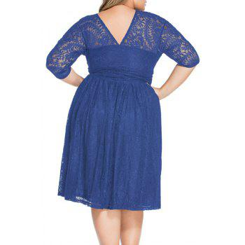 Sweet 3/4 Sleeves V-Neck Lace Flared Women's Dress - BLUE 3XL