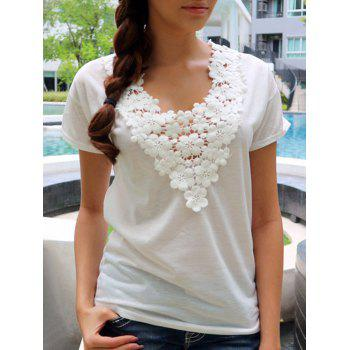 Sweet Women's White V-Neck Lace Spliced Short Sleeve T-Shirt