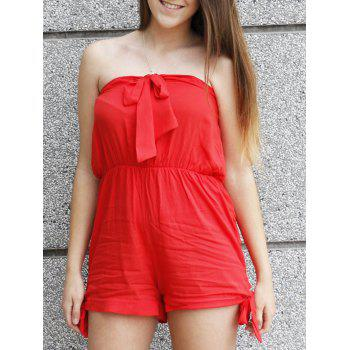 Sexy Pure Color Bowknot Elastic Waist Strapless Romper For Women