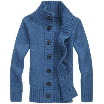 Casual Turn-down Collar Solid Color Men's Long Sleeves Cardigan