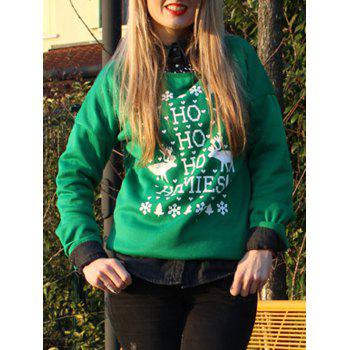 Stylish Long Sleeve Scoop Collar Snowflake and Deer Print Women's Christmas Sweatshirt