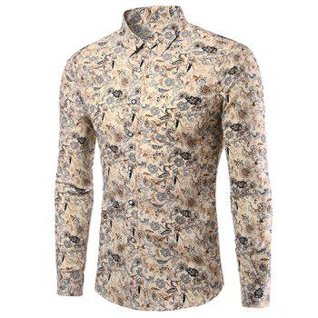 Men's Casual Plus Size Plant Printed Turn Down Collar Shirt