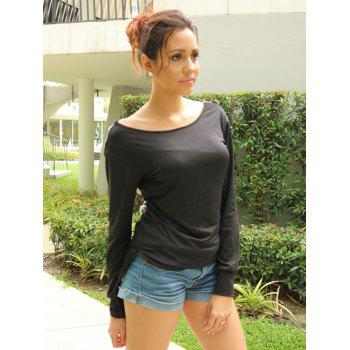 Stylish Long Sleeve Scoop Neck Hollow Out Side Slit Women's T-Shirt - BLACK XL