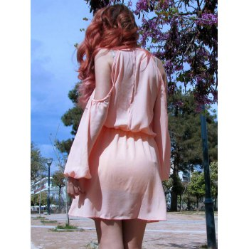 Stylish Solid Color Shoulder Hollow Out Back Slit Dress For Women - PINK XL