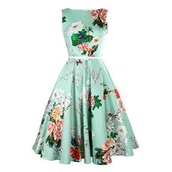 Vintage Women's Jewel Neck Sleeveless Floral Print Belted A-Line Dress