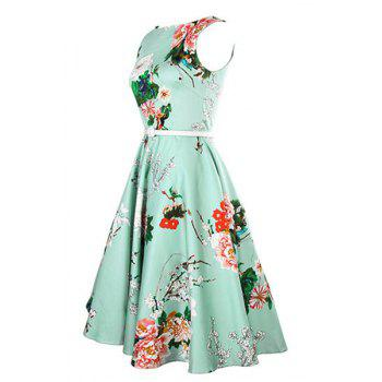Vintage Women's Jewel Neck Sleeveless Floral Print Belted A-Line Dress - LAKE GREEN S