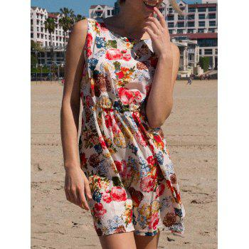 Sleeveless Scoop Collar Floral Print A-Line Chiffon Women's Dress