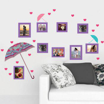 Removeable Flower Umbrella and Photo Frame Wall Stickers - COLORMIX